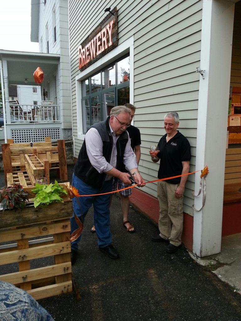 Steve Kulik at Opening of Elements Brewery with owner Dan Kramer